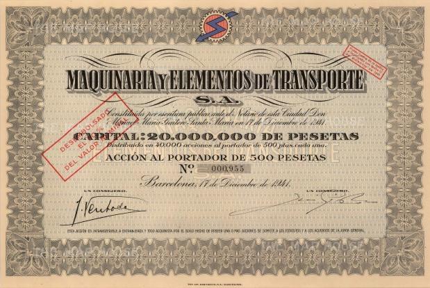 "Tip.Lit.Emporium SA: Maquinaria y Elementos de Transporte Share Certificate. 1941. An original colour vintage mixed-method engraving. 13"" x 9"". [BONDp43]"
