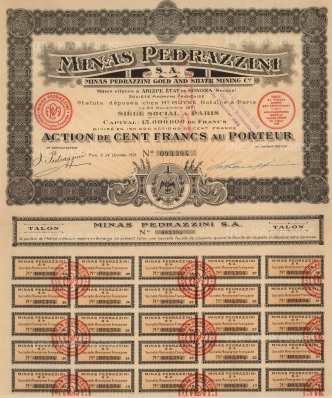 "Minas Pedrazzini Gold and Silver Mining. Share Certificate. 1921. An original colour mixed-method engraving. 12"" x 15""."