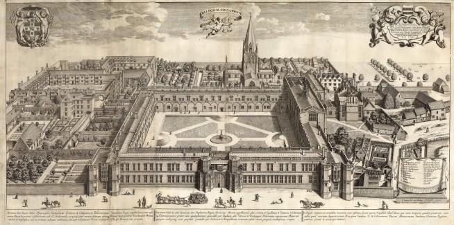 "Loggan: Christ Church College, Oxford. c1673. An original antique copper engraving. 33"" x 17"". [OXONp659]"