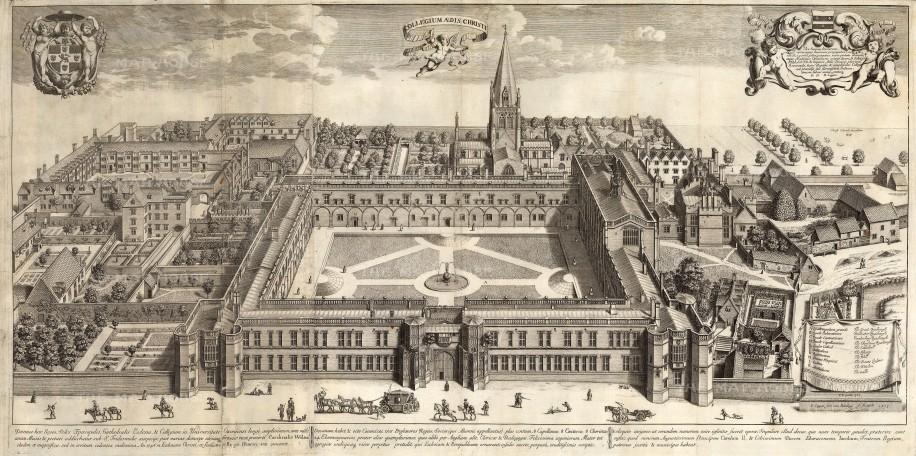 "Loggan: Christ Church College, Oxford, Oxfordshire. c1673. An original antique copper engraving. 33"" x 17"". [OXONp659]"