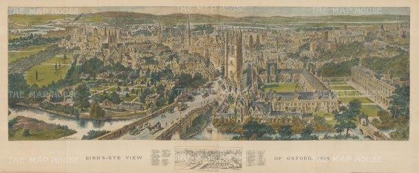 "Graphic Magazine: Oxford 1894. A hand coloured original antique wood engraving. 39"" x 16"". [OXONp809]"