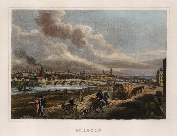 """Kelly: Glasgow. 1832. An hand coloured original antique steel engraving. 8"""" x 6"""". [SCOTp1004]"""