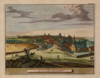 "van der Aa: Aberdeen. 1727. A hand-coloured original antique copper engraving. 5"" x 7"". [SCOTp1230]"