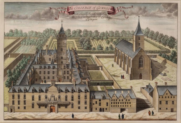 "Anonymous: College of Glasgow. 1730. A hand coloured original antique copper engraving. 17"" x 12"". [SCOTp1621]"