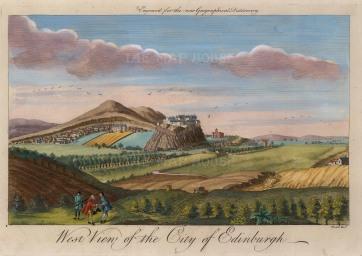 """Moll: Edinburgh. c1745. A hand coloured original antique copper engraving. 11"""" x 8"""". [SCOTp1680]"""