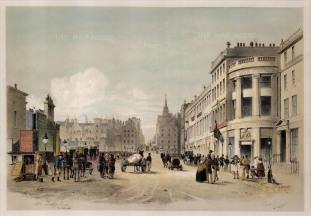 "Swarbreck: North Bridge Street, Edinburgh. 1837. A hand-coloured original antique lithograph. 12"" x 16"". [SCOTp823]"