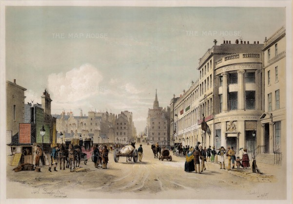 "Swarbreck: North Bridge Street, Edinburgh. 1837. A hand-coloured original antique lithograph. 12"" x 16"". [SCOTp823]"