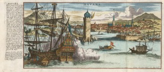 SOLD Havana, Cuba: Panorama of the port after the earliest view of 1671. Havana had just been returned to the Spanish by the British with the end of the Seven Year's War in 1763.