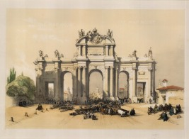 "David Roberts, 'Gate of Algala, the Entrance to Madrid', 1837. A hand-coloured original lithograph. 12"" x 15"". £POA."