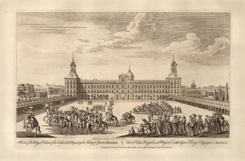 """Robert Sayer, 'A View of the Royal Palace of this Catholick Majesty the King of Spain', 1774. An original black and white copper-engraving. 12"""" x 18"""". £POA."""
