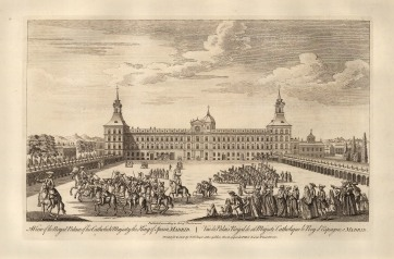 "Robert Sayer, 'A View of the Royal Palace of this Catholick Majesty the King of Spain', 1774. An original black and white copper-engraving. 12"" x 18"". £POA."