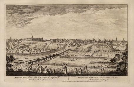 """Robert Sayer, 'A General View of the City of Madrid', 1774. An original black and white copper-engraving. 12"""" x 18"""". £POA."""
