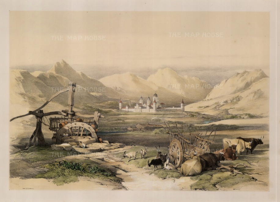 "Roberts: The Escurial. 1837. A hand coloured original antique lithograph. 13"" x 18"". [SPp560]"