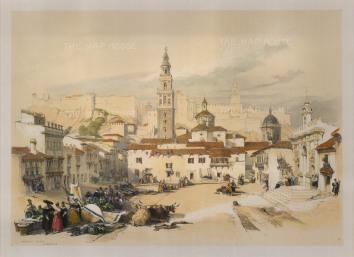 "Roberts: Market Place, Carmona. 1837. A hand coloured original antique lithograph. 11"" x 16"". [SPp653]"