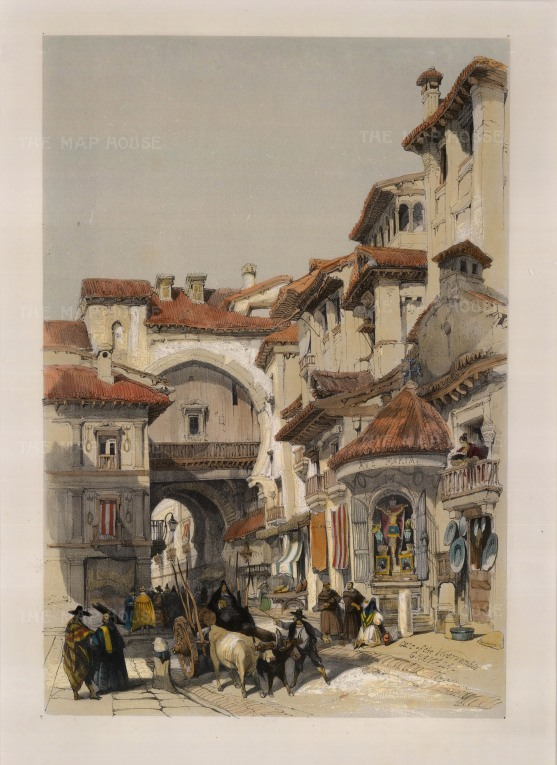 "David Roberts, ""Gate of Vivarrambla"", 1837. A hand-coloured original lithograph. 13"" x 17"". £POA."