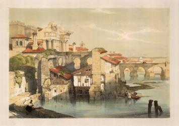 "David Roberts, Cordoba, riverside, 1832. A hand-coloured original lithograph. 13"" x 18"". £POA."