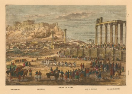 "Collins: Athens. c1870. A hand coloured original antique wood engraving. 10"" x 7"". [GRCp876]"