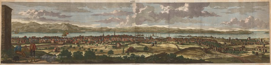 """Le Bruyn: Chios. 1702. A hand coloured original antique copper engraving. 76"""" x 13"""". [GRCp895]"""