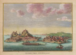 "Hogg: Corfu. 1793. A hand coloured original antique copper engraving. 8"" x 6"". [GRCp896]"