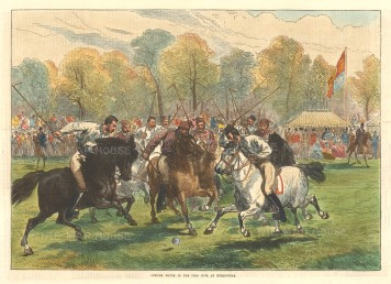 "The Illustrated London News, 'Opening Match of the Polo Club at Hurlingham', 1874. 10"" x 14"". £POA."