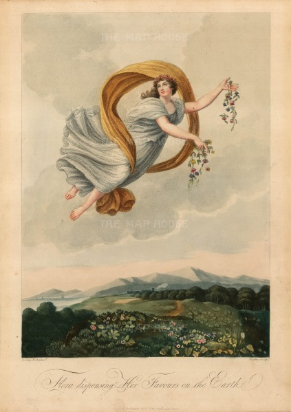"Thornton: Flora Dispensing Her Favours on the Earth. 1812. An original colour antique mixed-method engraving. 9"" x 13"". [FLORAp2615]"