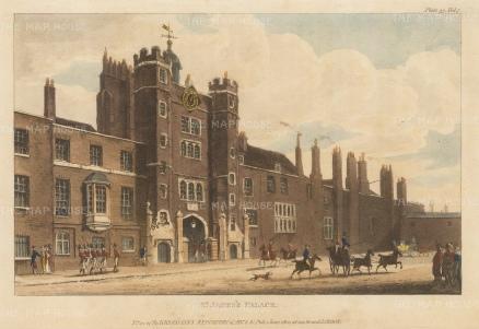"Papworth: St James's Palace. 1816. An original colour antique aquatint. 8"" x 6"". [LDNp10387]"