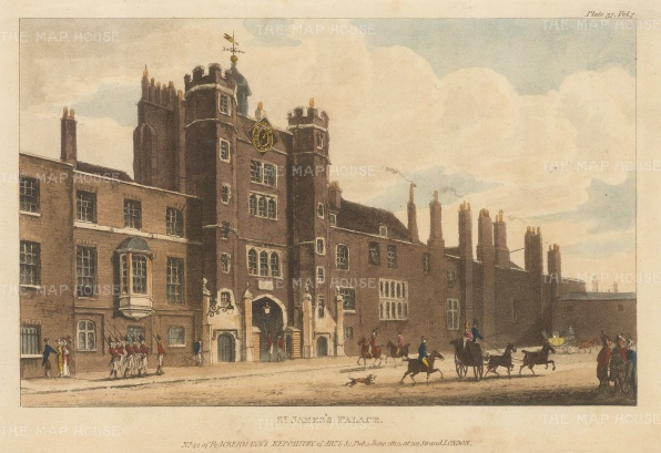 "Papworth: St James's Palace. 1816. An original colour antique aquatint. 8"" x 6"". [LDNp10387]"