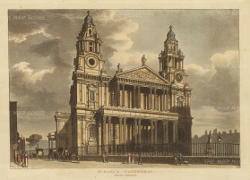 "Papworth: St. Paul's Cathedral.1816. An original colour antique aquatint. 8"" x 6"". [LDNp10454]"