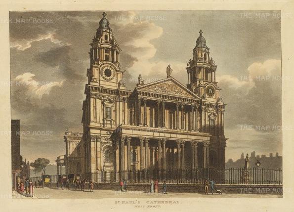 "Papworth: St. Paul's Cathedral.1816. An original colour antique aquatint. 8"" x 6"". [LDNp10454]"