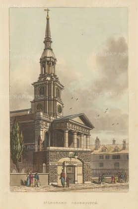 "Papworth: St. Leonard's Shoreditch.1816. An original colour antique aquatint. 6"" x 8"". [LDNp2774]"