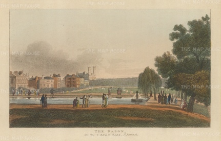 "Papworth: Queen's Basin, Green Park. 1816. An original colour antique aquatint. 8"" x 6"". [LDNp4704]"