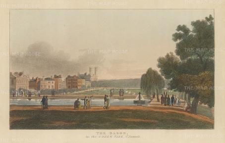 "Papworth: Queen's Basin, Green Park. 1816. An original colour antique aquatint. 8"" x 6"". [LDNp4704}"