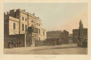 "Papworth: Manchester Square. 1816. An original colour antique aquatint. 8"" x 6"". [LDNp7077]"
