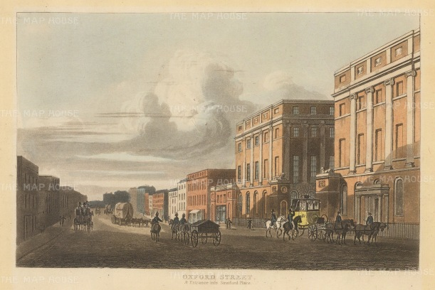 "Papworth. Oxford Street. 1816. An original colour antique aquatint. 8"" x 6"". [LDNp7113]"