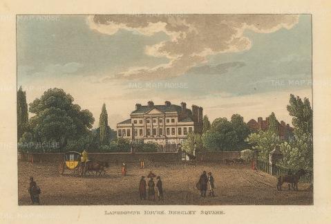 """Papworth: Lansdowne House, Berkley Square. 1816. An original colour antique aquatint. 8"""" x 6"""". [LDNp7873]"""