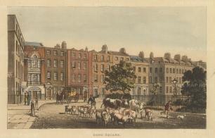 "Papworth: Soho Square.1816. An original colour antique aquatint. 8"" x 6"". [LDNp7874]"