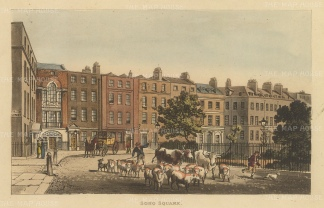 "Papworth: Soho Square.1816. An original colour antique aquatint. 8"" x 6"". [LDNp7874]"