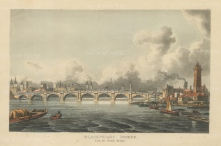 "Papworth: Blackfriars Bridge. 1816. An original colour antique aquatint. 8"" x 6"". [LDNp8473]"
