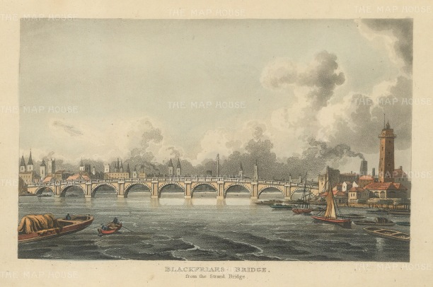 "Papworth: Blackfriars Bridge. 1816. An original colour antique aquatint. 8"" x 6"". [LDNp8473]"