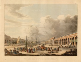 "Ackermann: Great Square, Moscow. 1813. An original colour antique aquatint. 10"" x 12"". [RUSp717]"