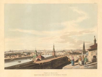 """Ackermann: Moscow. 1813. An original colour antique aquatint. 12"""" x 10"""". [RUSp719]"""