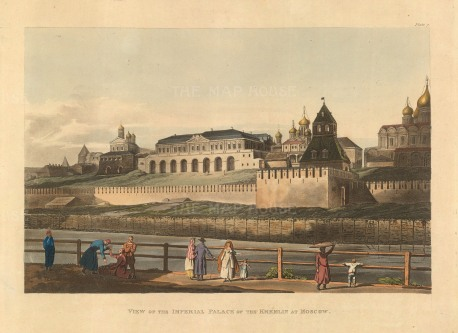 """Ackermann, 'View of the Imperial Palace of the Kremlin at Moscow', 1813. An original colour aquatint. 10"""" x 12"""". £POA."""