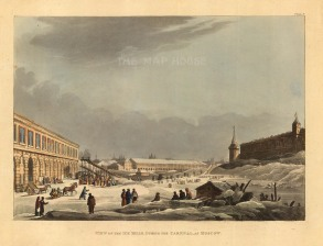 "Ackermann: Ice Hills, Moscow. 1813. An original colour antique aquatint. 10"" x 12"". [RUSp721]"