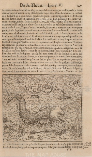 Thevet: Narwhal. 1575. An original antique wood-cut. 8 x 12 inches [NATHISp5436]