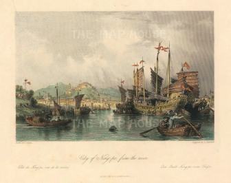 "G.N. Wright, 'City of Ning-po, from the River', 1843. A hand-coloured original steel-engraving. 7"" x 9""."