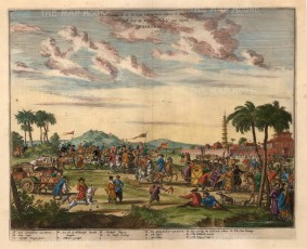 Gate on the Lipu Road: Pieter van Hoorn's delegation welcomed outside Peking en route to the Imperial Court. With key in Dutch and English.
