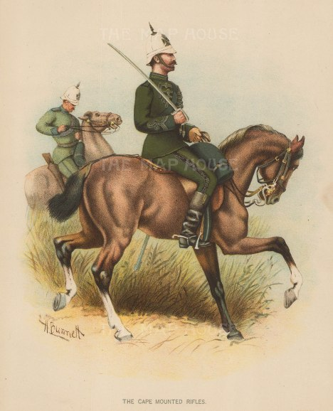 "Richards: The Cape Mounted Rifles. c.1890. An original chromo-lithograph. 7"" x 9""."