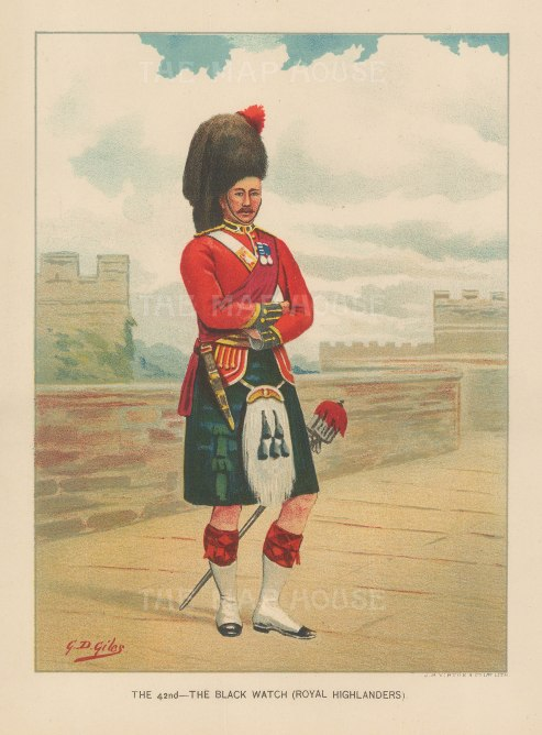 "Walter Richards, 'The Black Watch (Royal Highlanders)', c.1890. An original chromo-lithograph. 7"" x 9""."