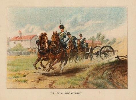 """Walter Richards, 'The Royal Horse Artillery', c.1890. An original chromo-lithograph. 7"""" x 9""""."""