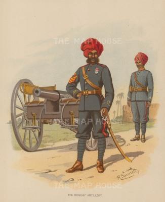 "Richards: The Bombay Artillery. c.1890. An original chromo-lithograph. 7"" x 9""."